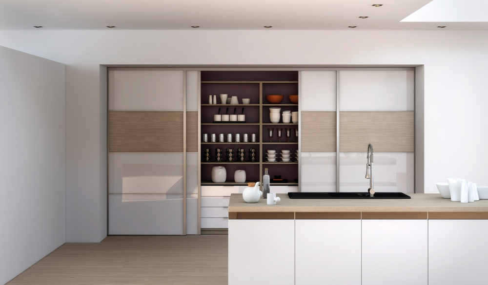 Trouvez la solution pour gagner de l 39 espace avec - Meuble de cuisine avec porte coulissante ...