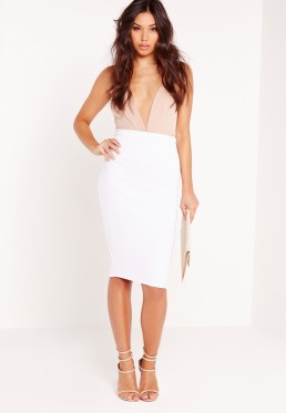 jupe blanche mi longue