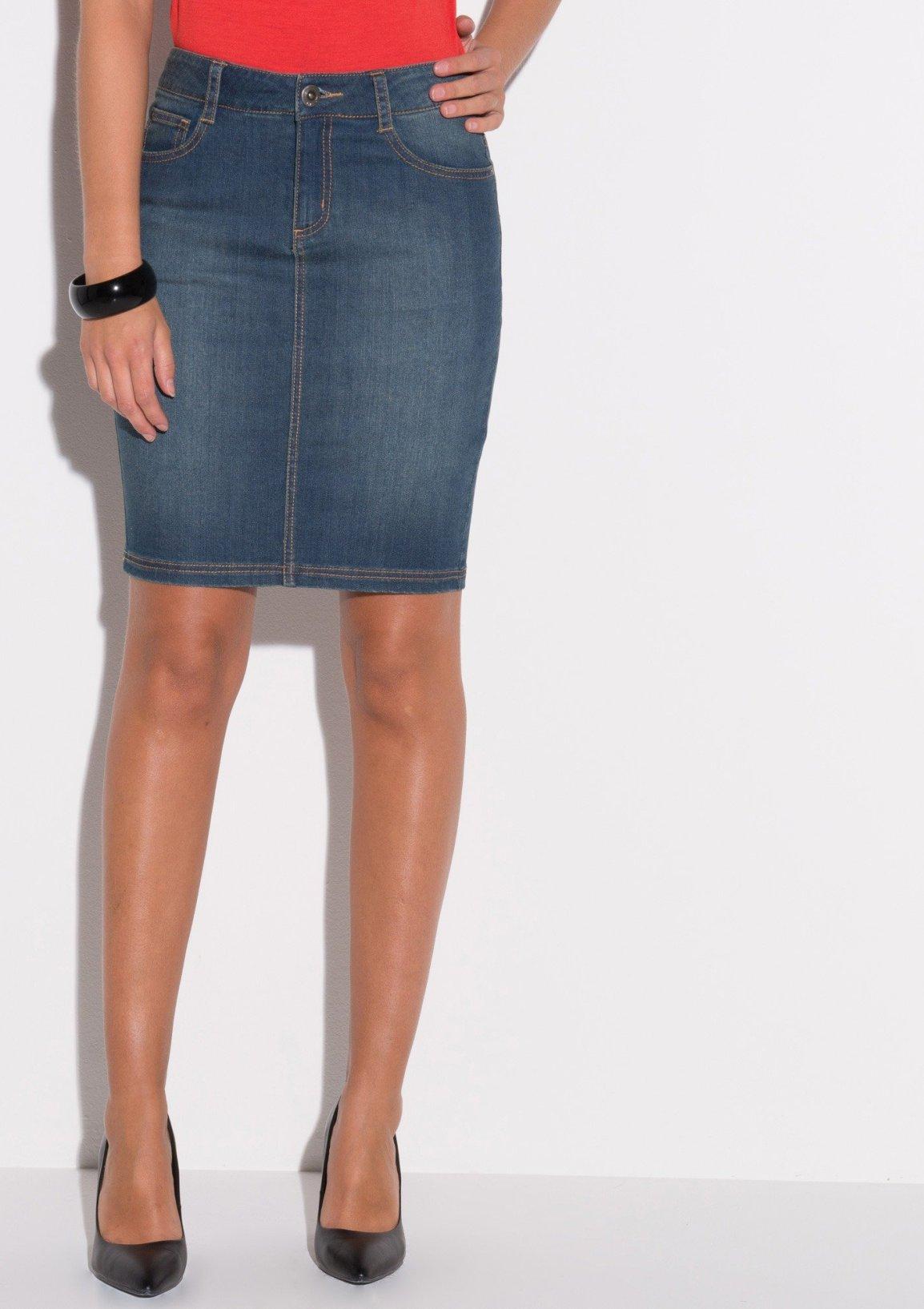 jupe en jean mi longue
