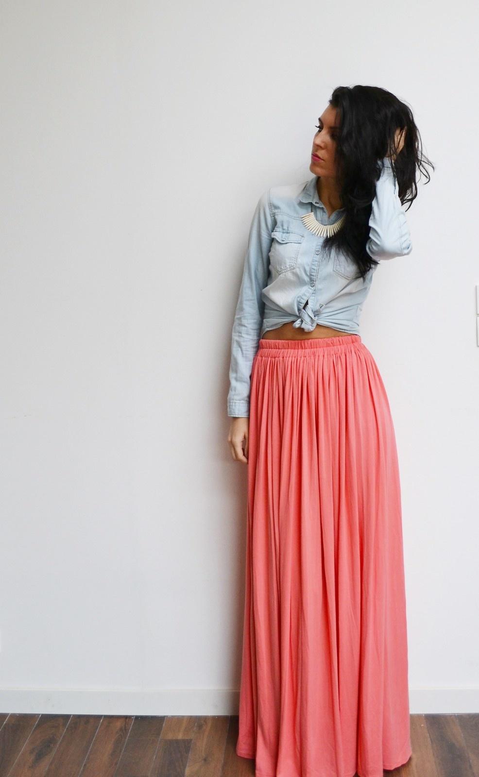 jupe longue corail
