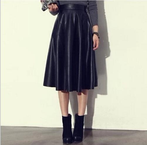 jupe longue cuir
