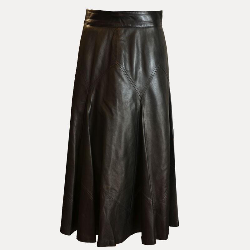 jupe longue en cuir