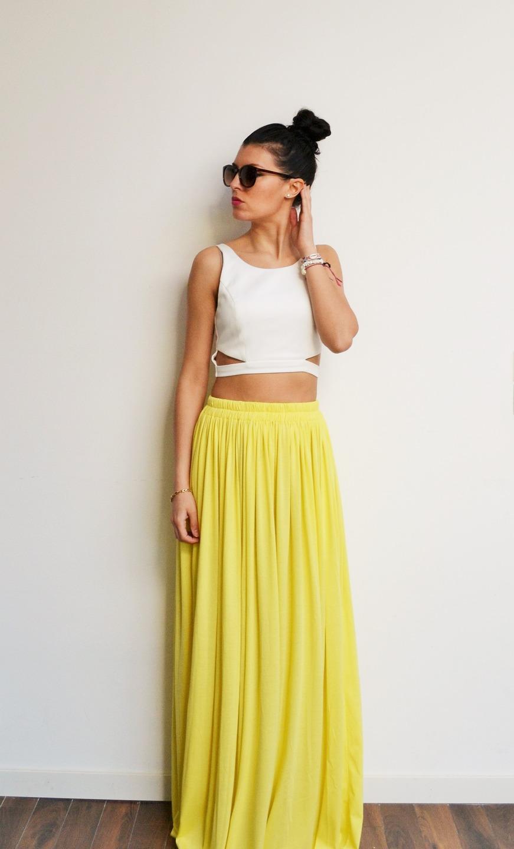 jupe longue jaune