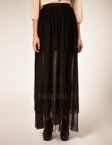 jupe longue noire transparente