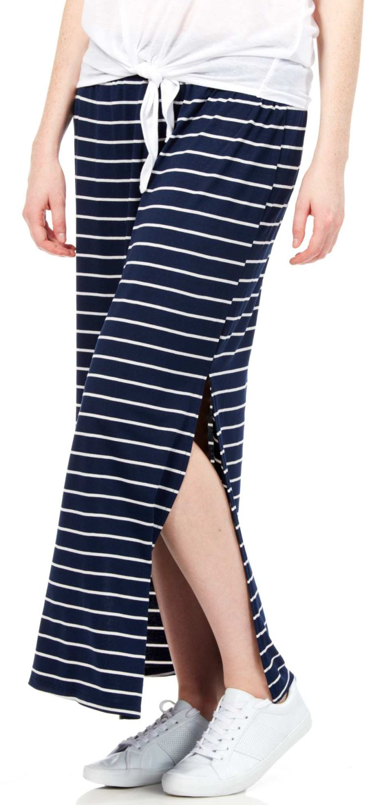 jupe longue rayée noir et blanc