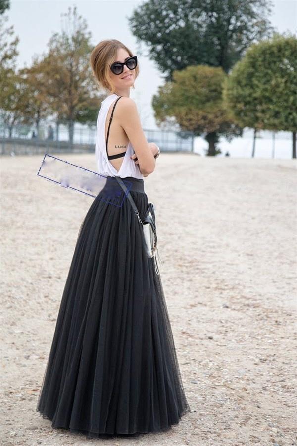 jupe longue tulle noir