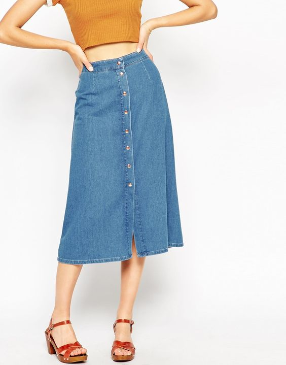 jupe mi longue jean