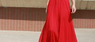 Jupe rouge longue